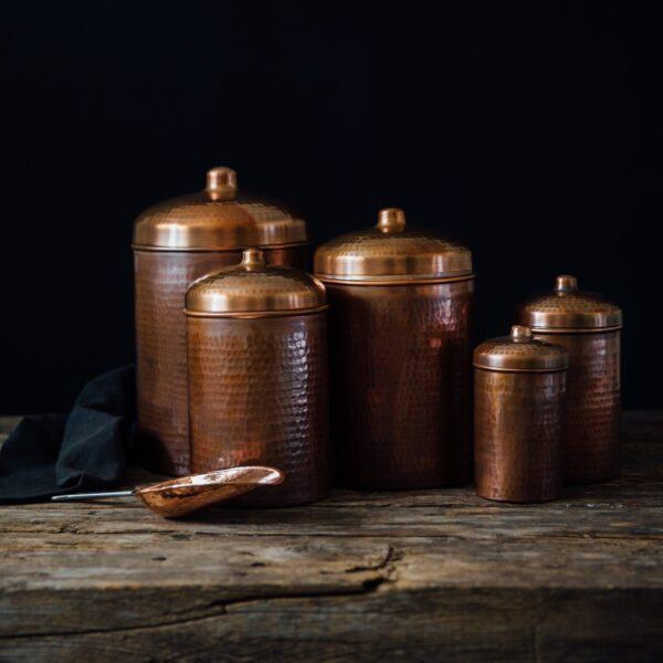 Copper Kitchen Canisters Complete 5 piece Set